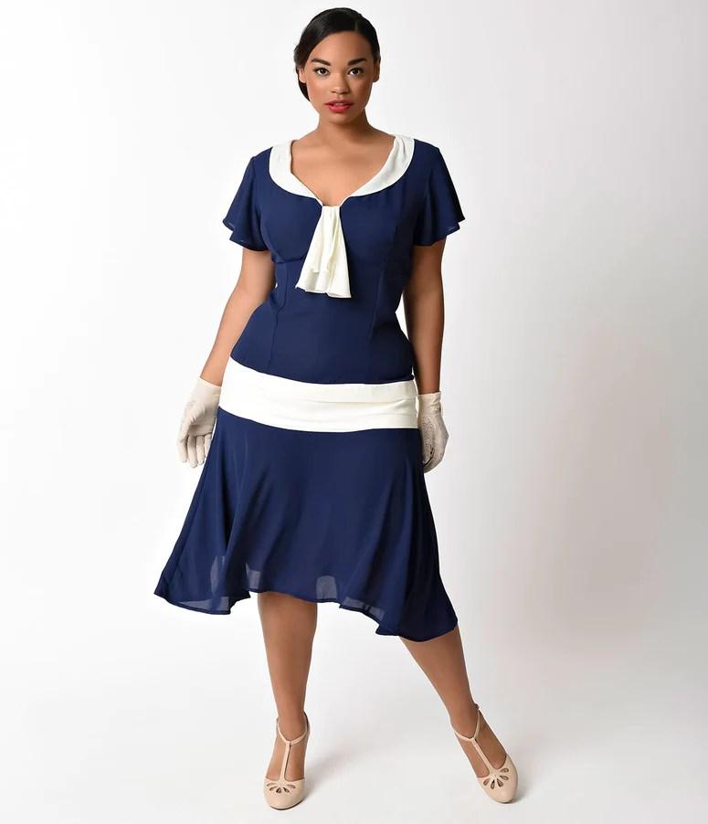 Unique Vintage Plus Size S Style Navy Blue Ivory Wilshire Chiffon Flapper Day Dress