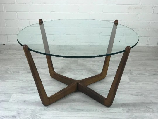 sold mid century modern round glass and wood coffee table