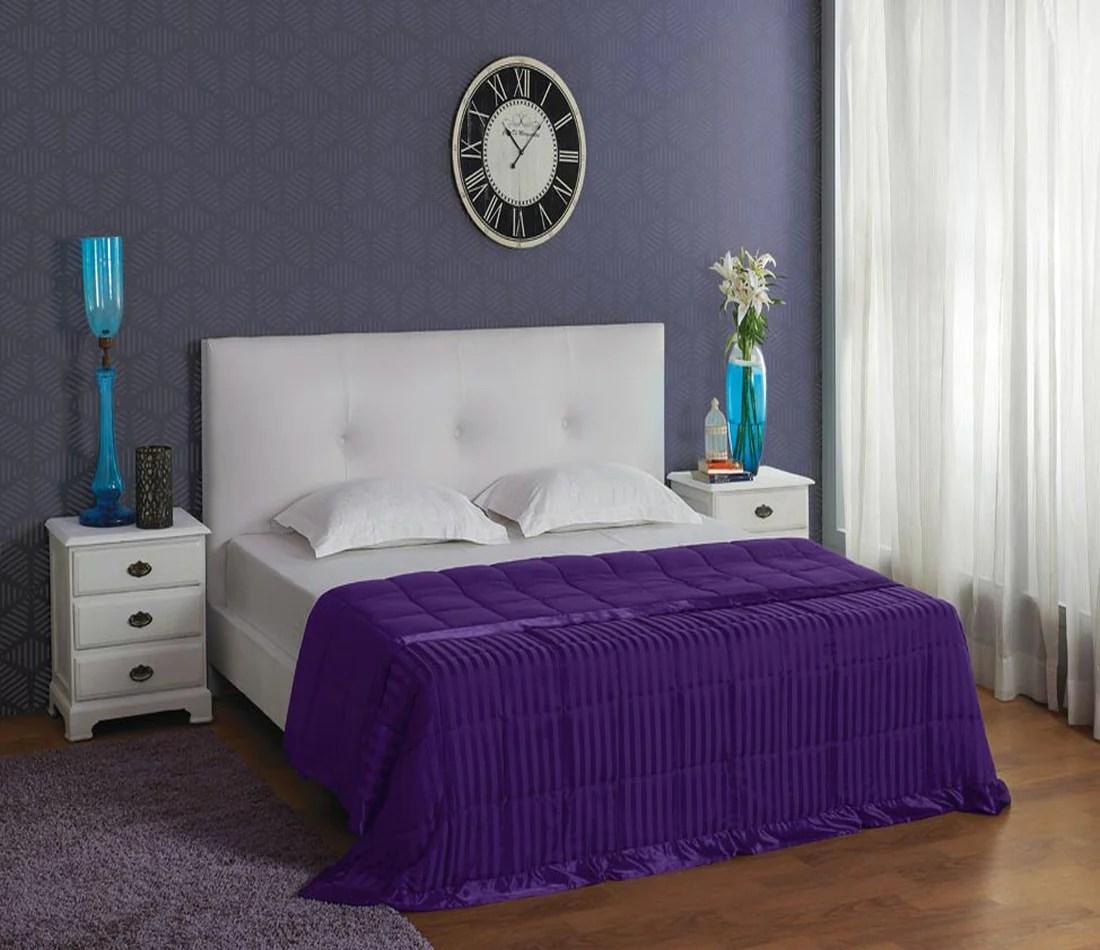 Stoa Paris Purple Satin Stripe Comforter