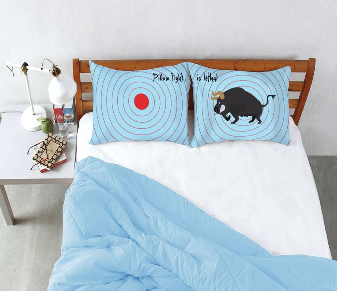 stoa paris blue pillow fight target bull pillow cover set of 2pcs olivetheory