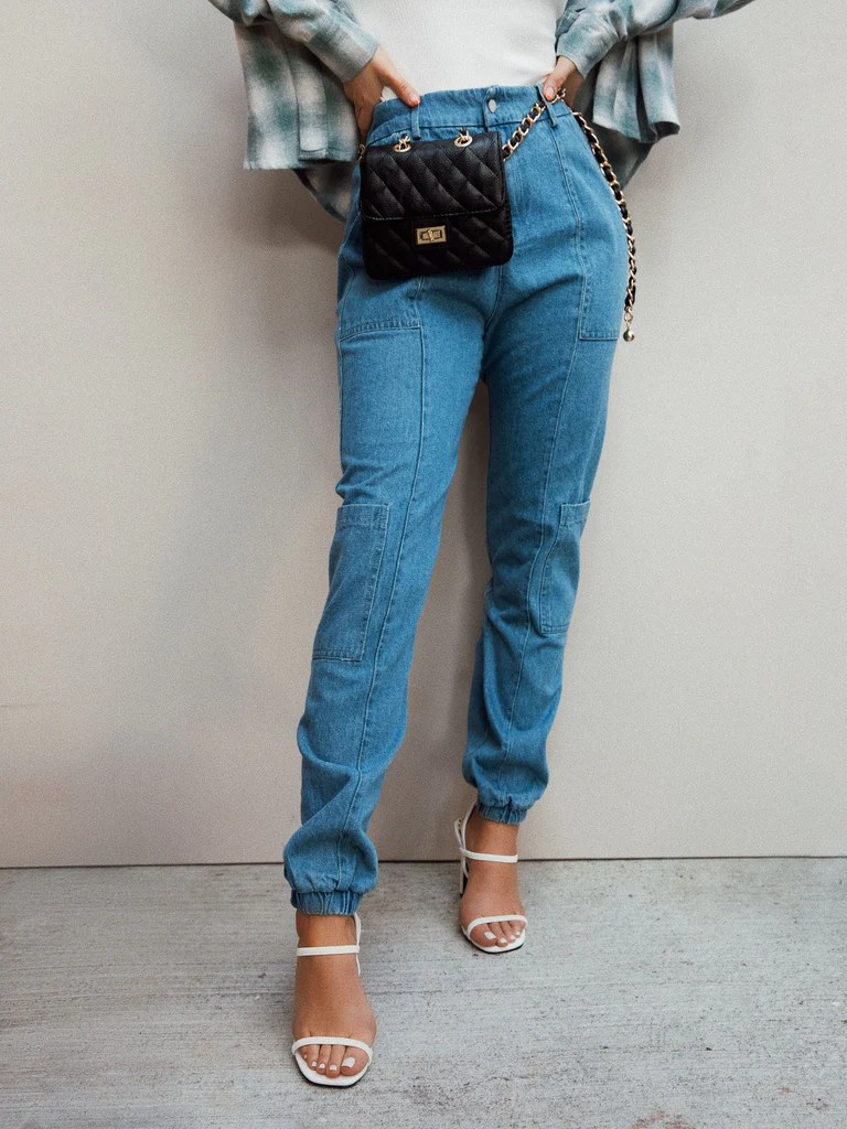 Chic Ways Denim Jogger - Light Denim 7