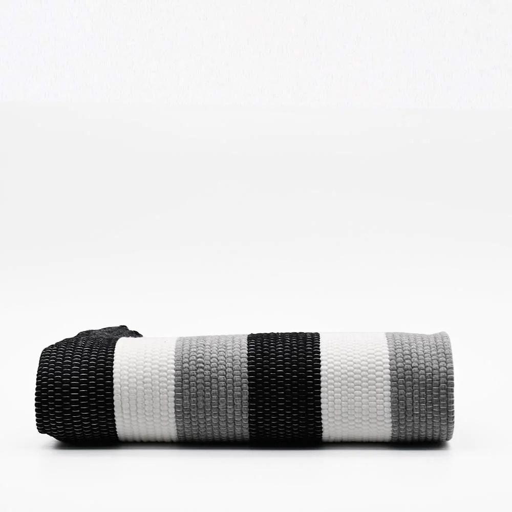 tapis en coton raye gris