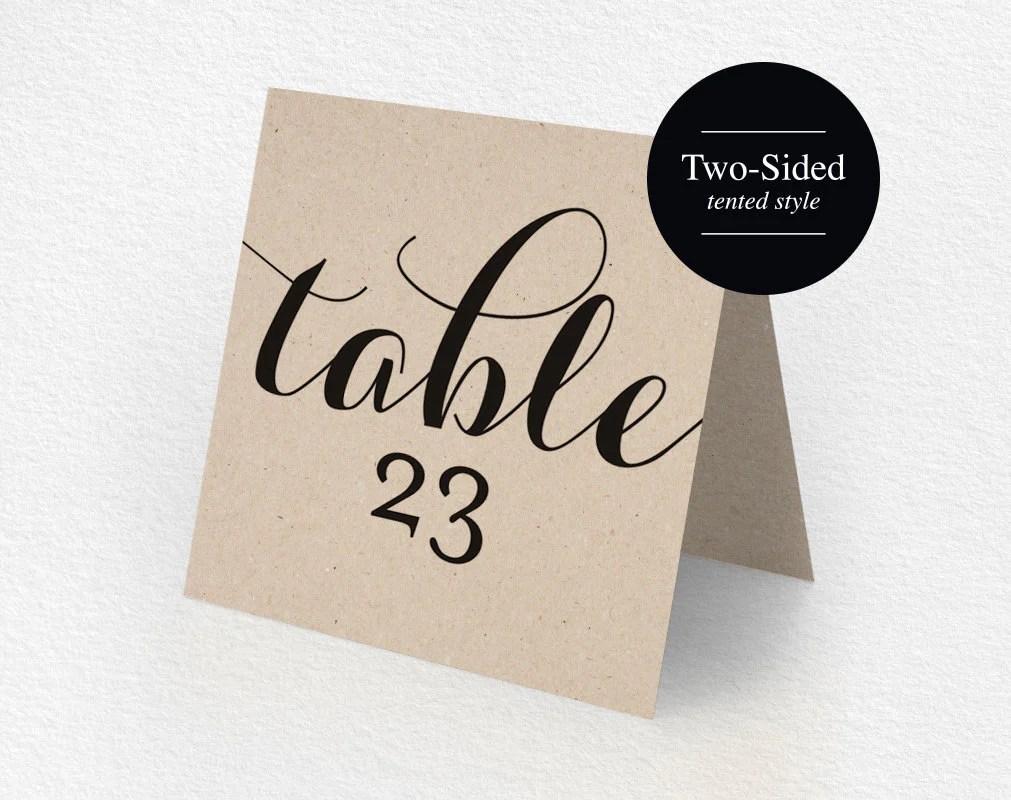 Printable Table Numbers Printable Wedding Table Numbers Tented Table Number Kraft Rustic Wedding Diy Pdf Instant Download Bpb133 7