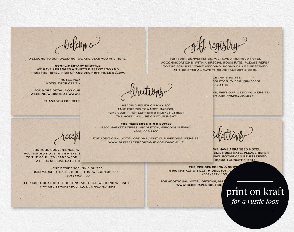 Enclosure Cards, Reception Card, Directions Card, Gift
