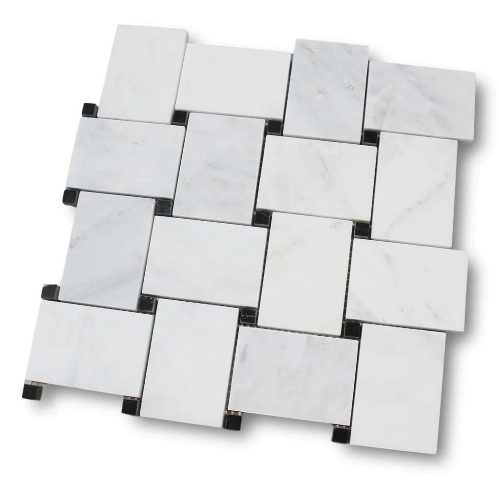 bianco carrara marble basketweave mosaic tile