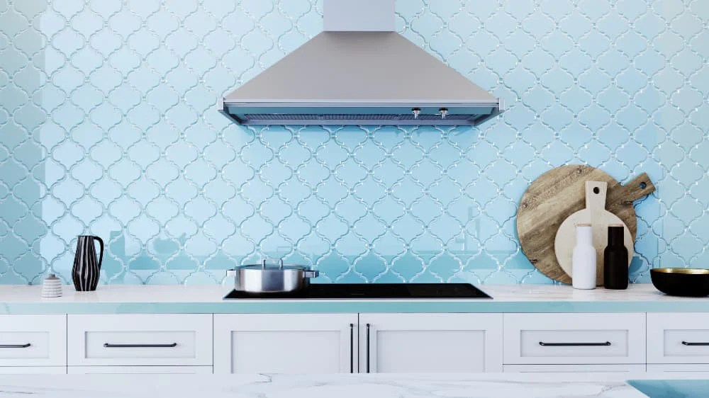 infinity blue arabesque glass mosaic tiles