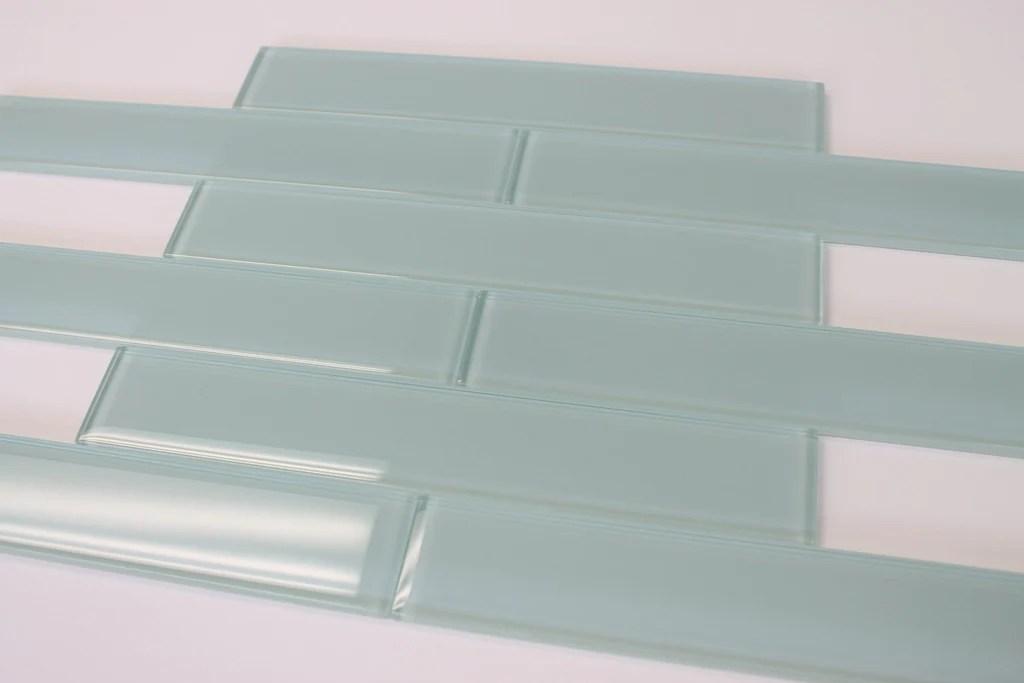 seafoam 2x12 glass subway tiles