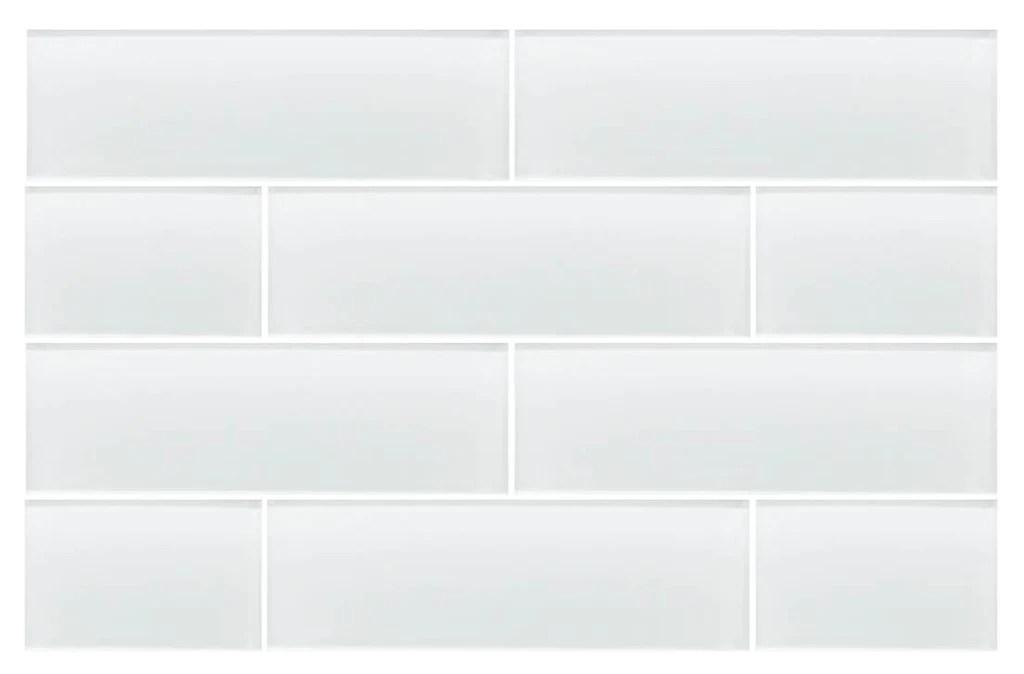 snow white 4x12 glass subway tiles