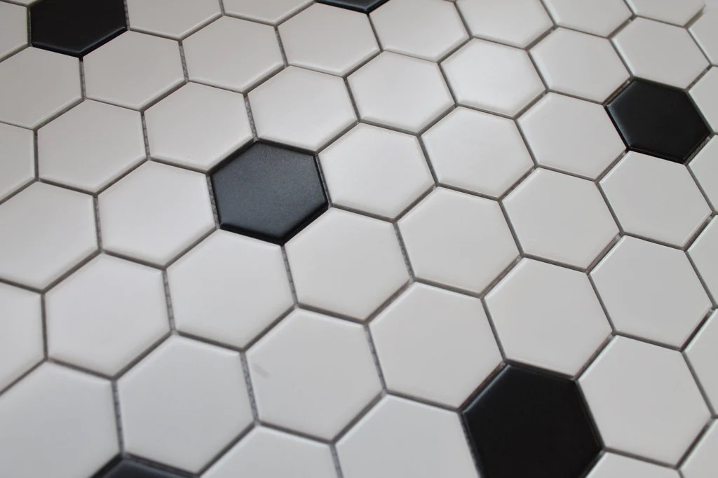 glazed porcelain hexagon mosaic tiles 2 inch black and white tiles