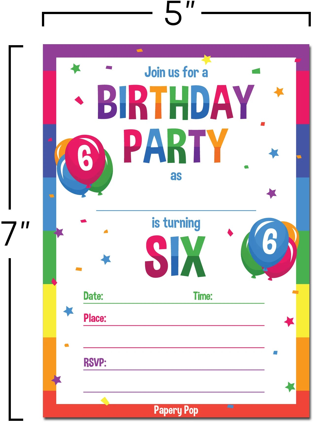 6 year old birthday party invitations