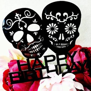 Sugar Skull Cake Topper Happy Birthday Sugarskull Cake Topper Cake Dec