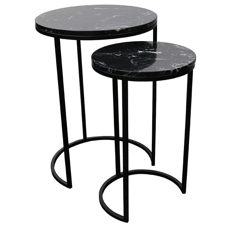santos nest of 2 side tables black marble
