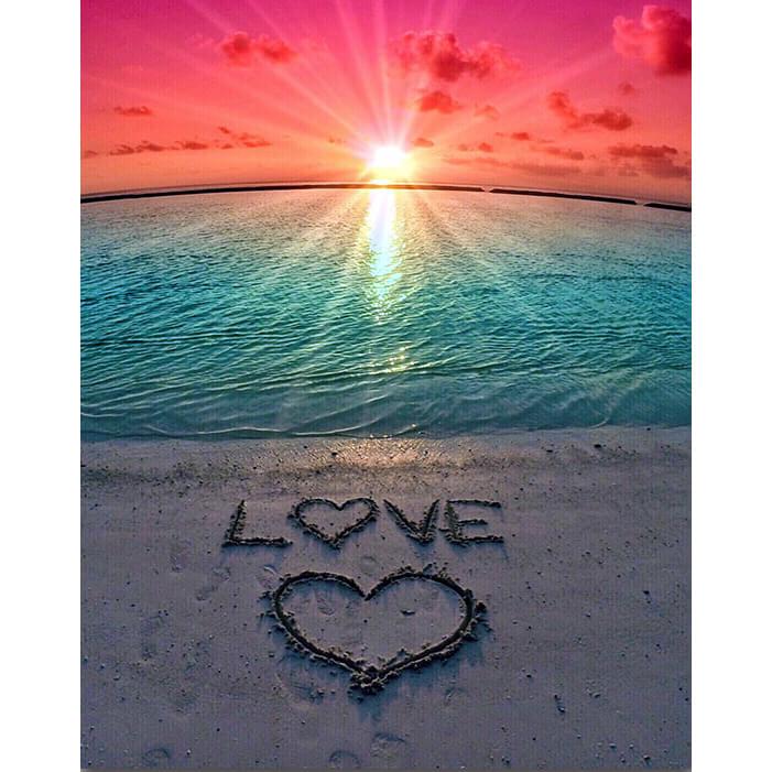 Sunset Heart On Beach 5d Diamond Painting Kits Oloee