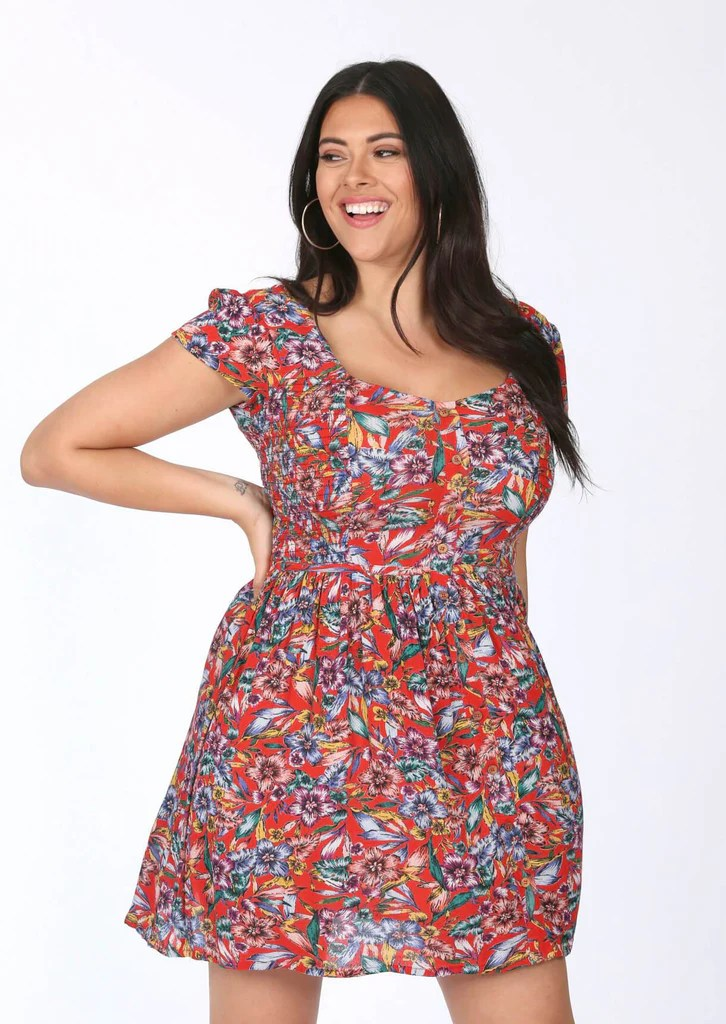 Red Floral Dress 1 view main view
