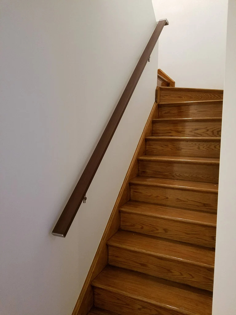 Modern Square Flat Wall Mounted Stair Railing In Aluminum Handrail | Wall Mounted Handrails Wood | Stair Handrail Bracket | Capozzoli Stairworks | Stair Parts | Wood Staircase Handrail | Wrought Iron