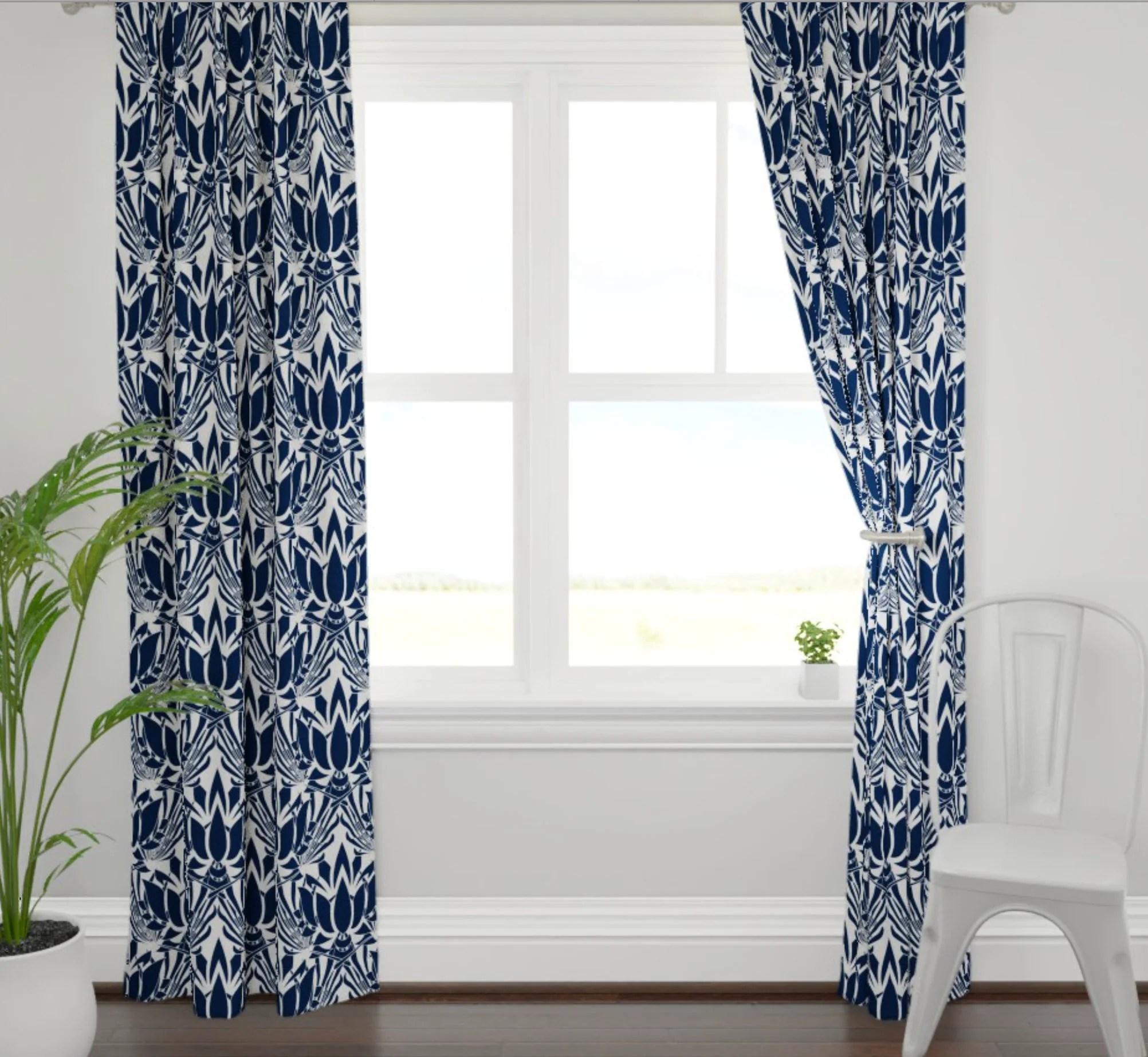 Lotus Print Curtains Navy Curtains Dining Room Curtains Navy Living Room Curtains Navy Lotus Fabric Blue Lotus Fabric Dining Room Drapes