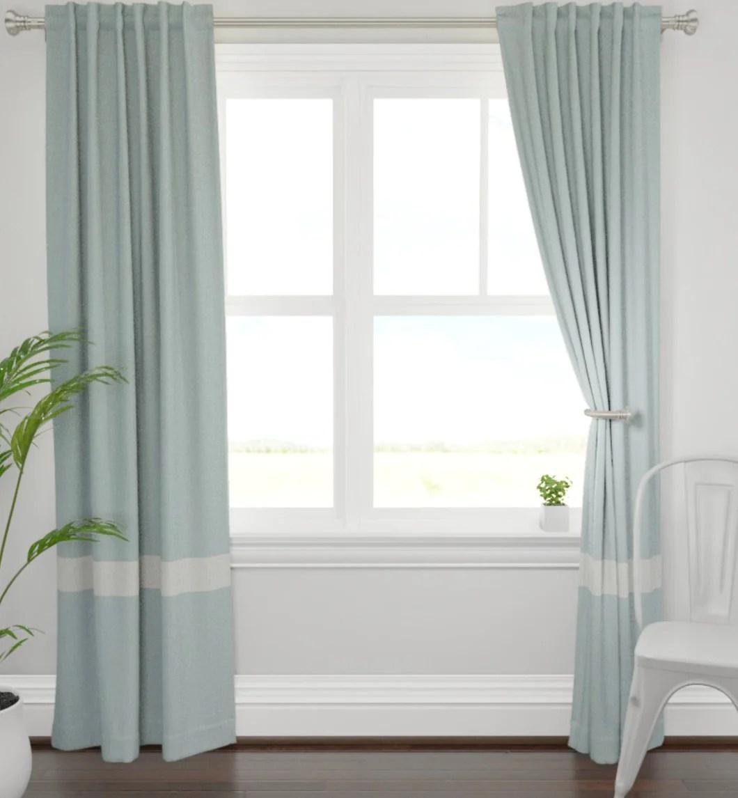 pale aqua blue curtains with ivory white bottom stripe curtains color block drapes color block curtains seafoam green curtains soft blue