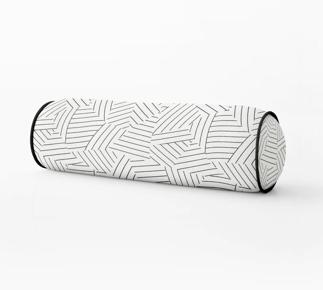 deconstructed stripe pillow black and white lumbar bed bolster round bolster schumacher bedroom pillow long lumbar pillow neck roll pillow
