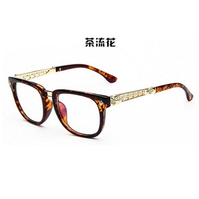 60b831b4b96f 2016 Retro Metal Hollow Flower Optical Plain Mirror Eyeglasses