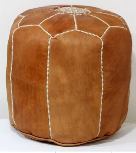 tabouret tall leather pouf tan