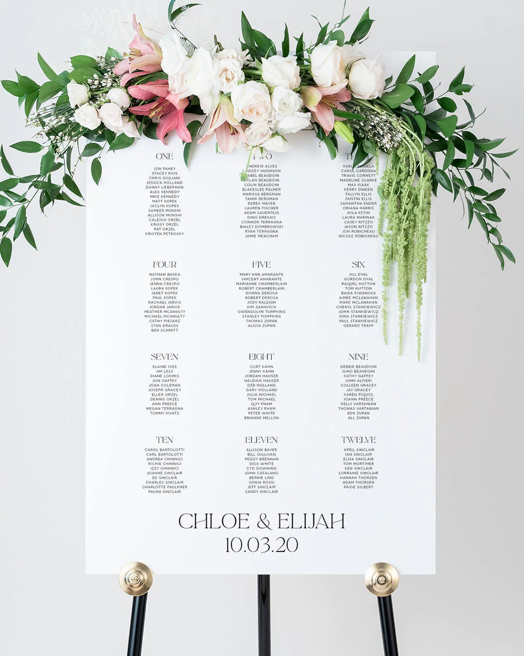 wedding seating chart signs lily