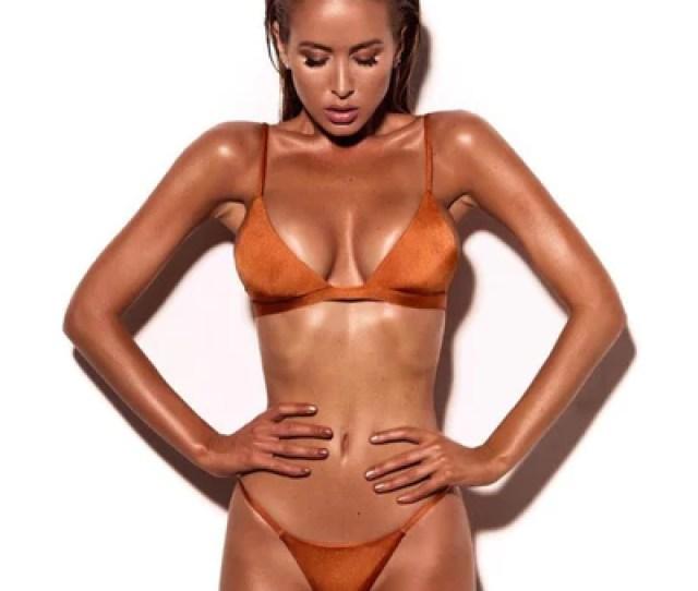 Hot Fashion Bikini Swimwear Sexy Top And Thong Brown