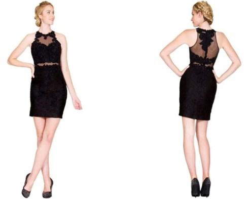 Lace Appliqued Illusion Midriff Sheath Short Formal Dress