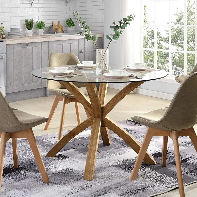 Lugano Round Glass Top Solid Oak Legs Dining Table Shop Designer Home Furnishings