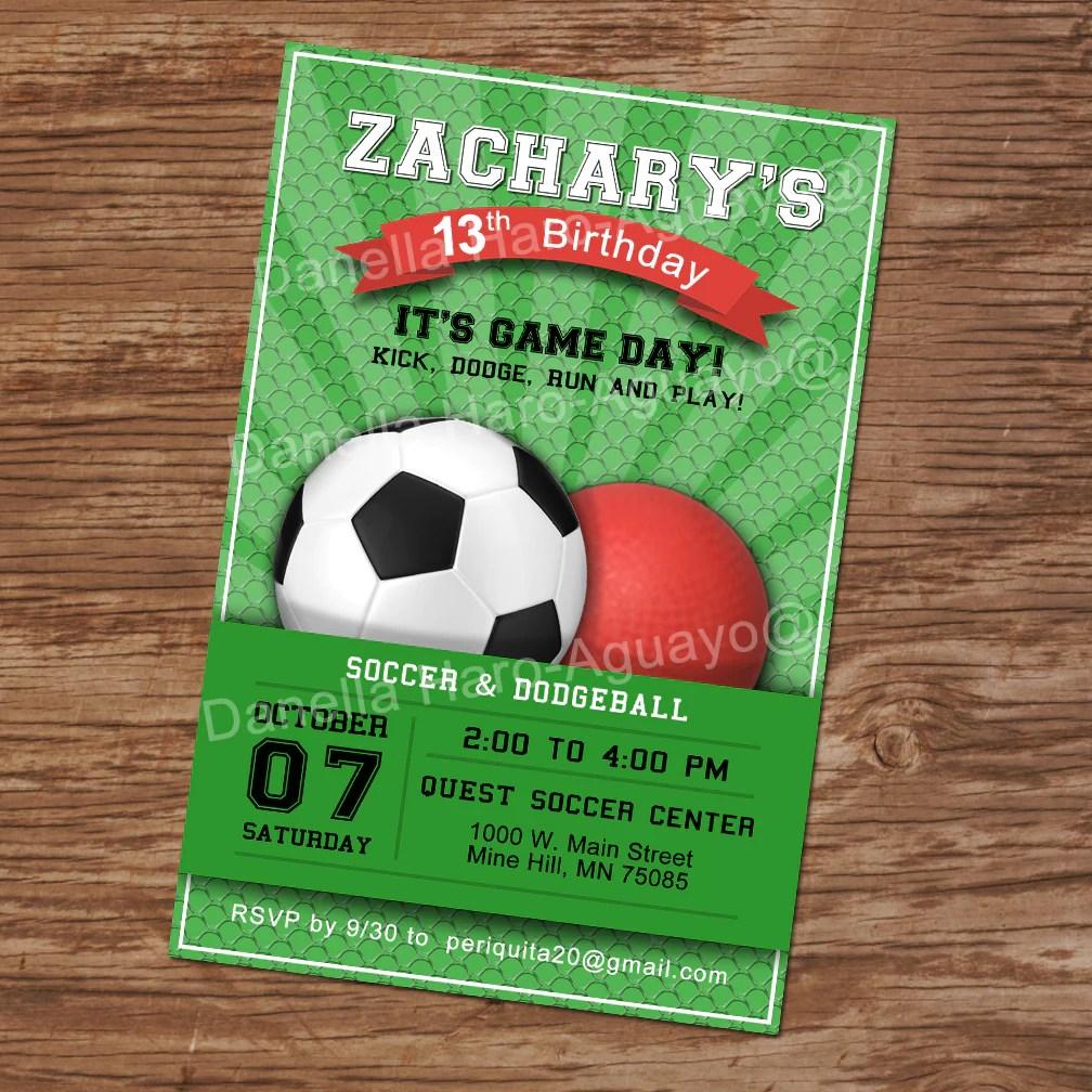 soccer and dodgeball birthday invitation soccer party digital file