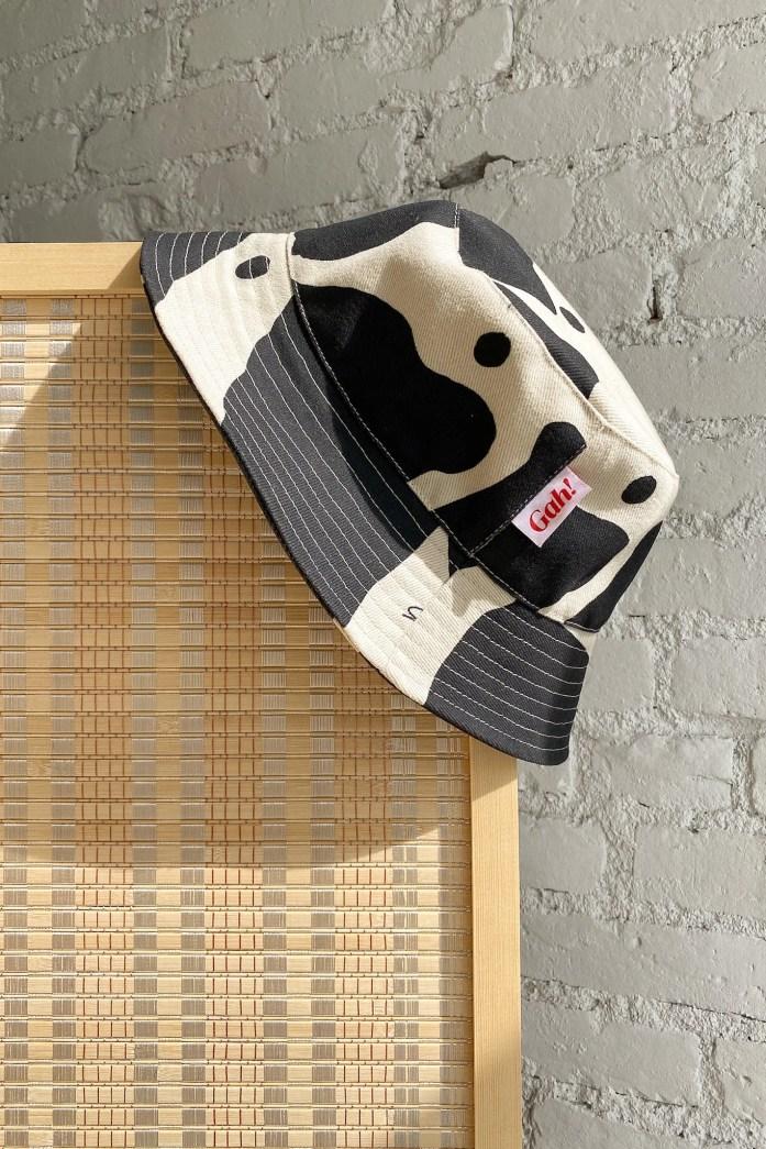 Britt Bucket Hat - Black/Ivory Cow