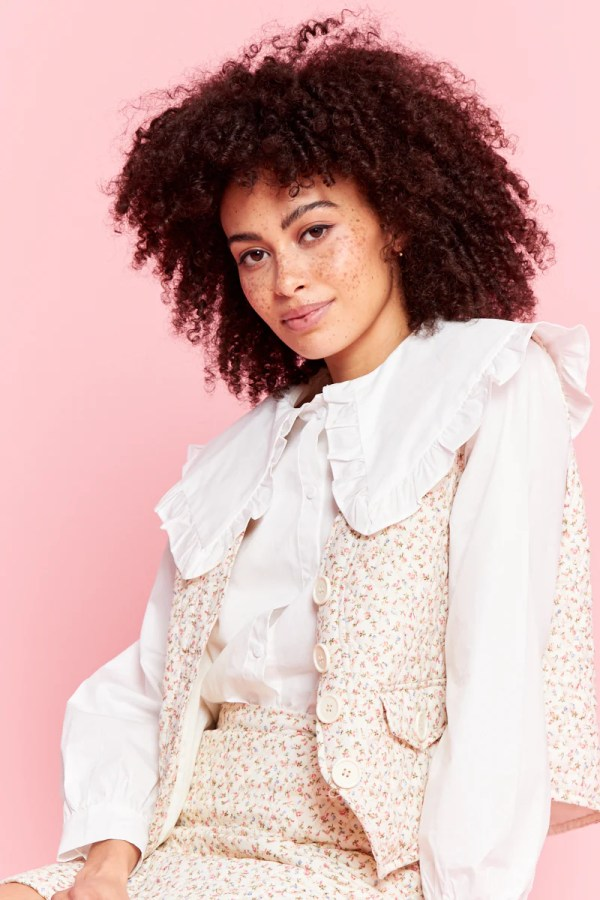 relaxed gilet in quilted pastel floral co-ord neon rose