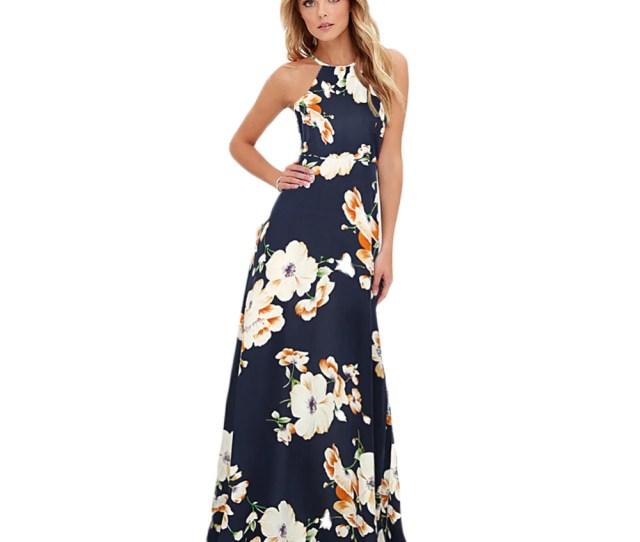Ladies Long Length Floral Halter Neck Maxi Dress