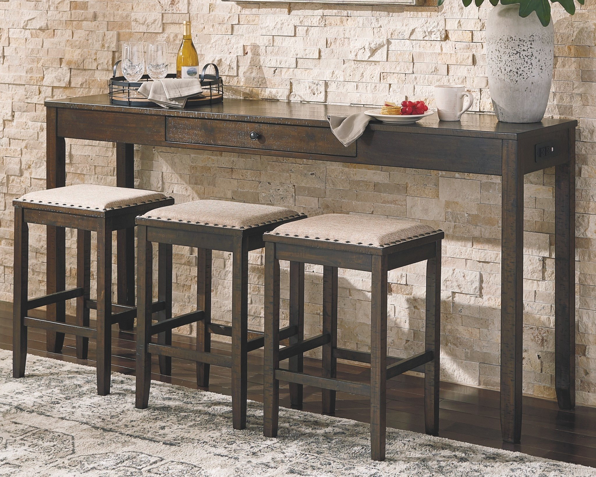 rectangular bar dining table with 3 barstools rokane