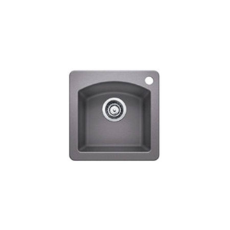 blanco 401663 diamond mini single bowl drop in kitchen sink metallic gray