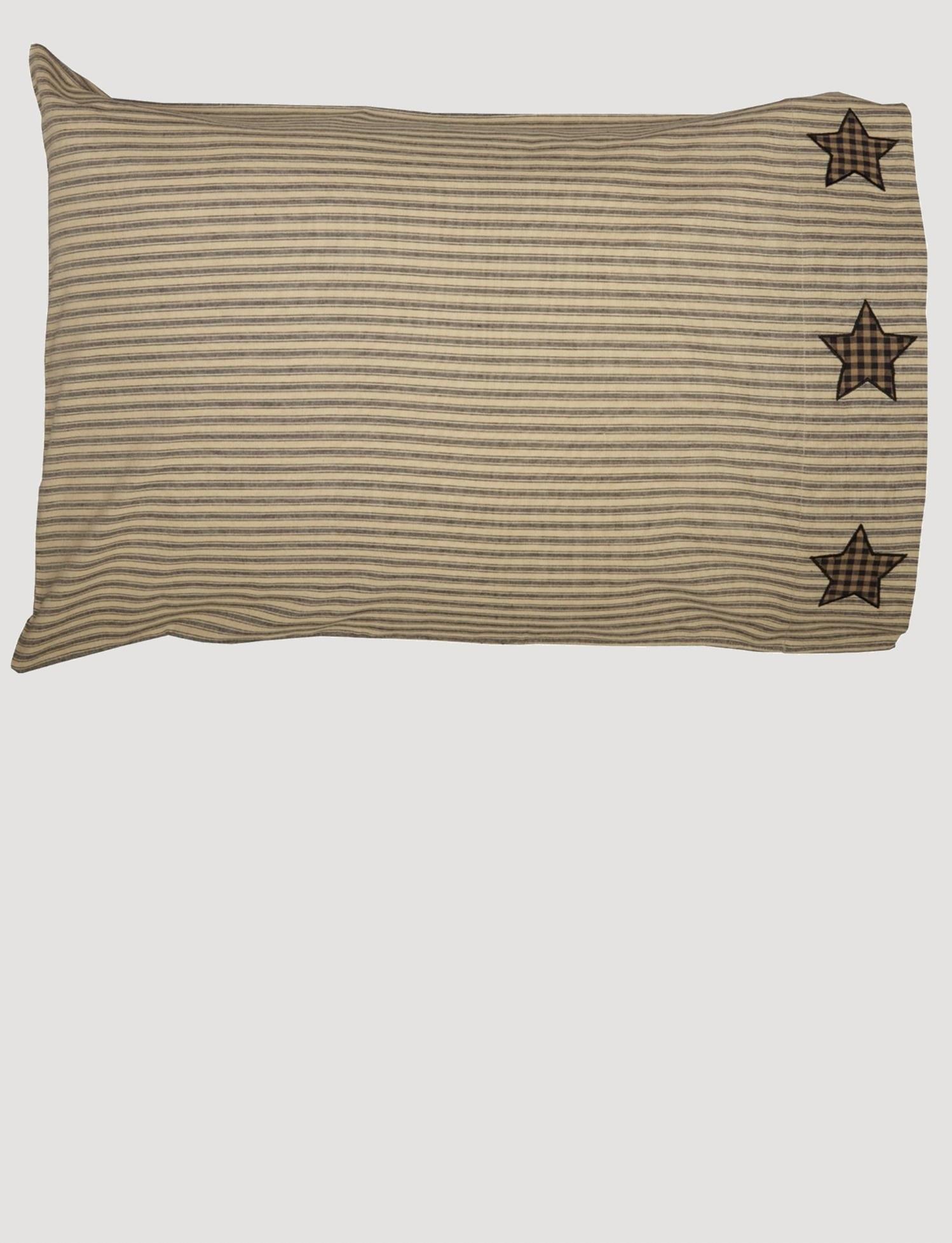farmhouse star pillow case w applique star set of 2