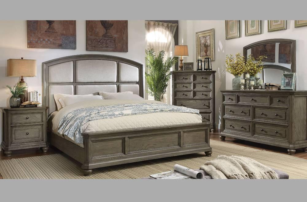alyssa mobilier de chambre a coucher tres grand lit king gris vieilli