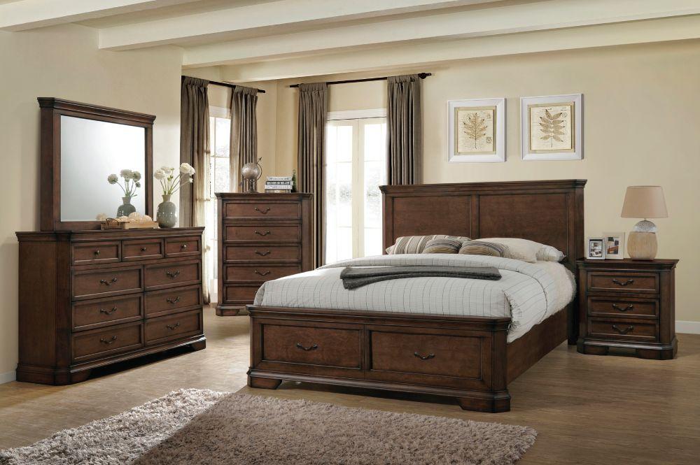 claire mobilier de chambre a coucher tres grand lit king noyer fonce