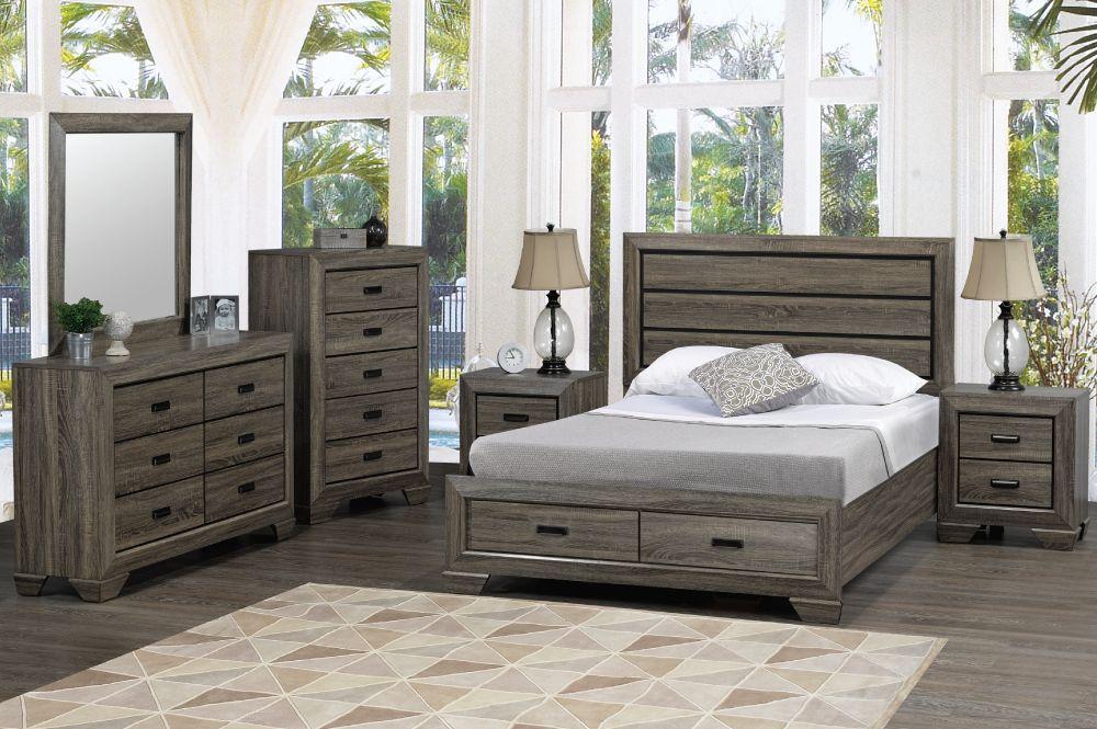 jenna mobilier de chambre a coucher tres grand lit king gris vieilli