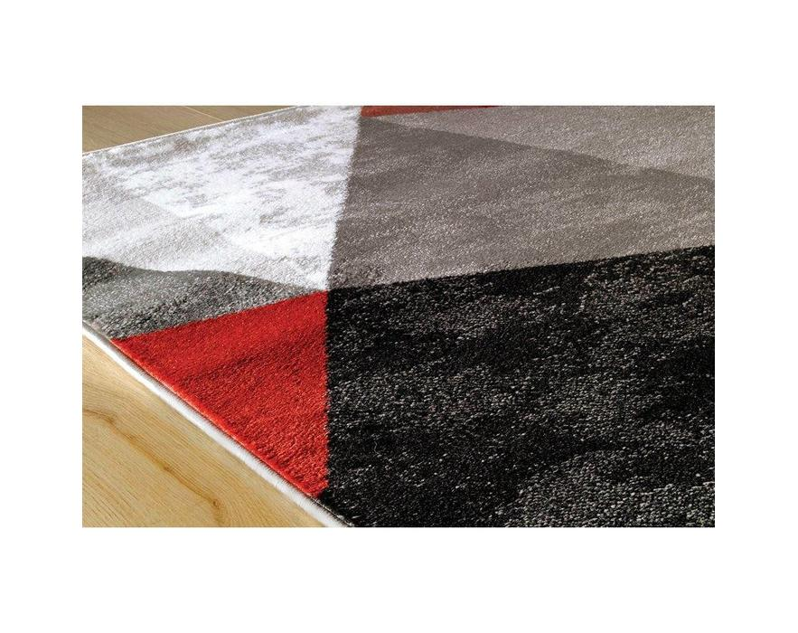 kalora tapis platinum triangle rouge gris noir 8pi x 10pi