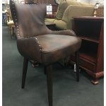 Brown Faux Leather Accent Chair W Nailhead Trim Heirloom Home