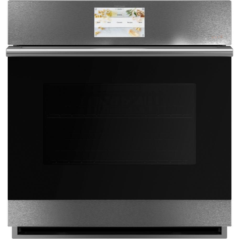 ge cafe 27 smart single wall oven with convection in platinum glass
