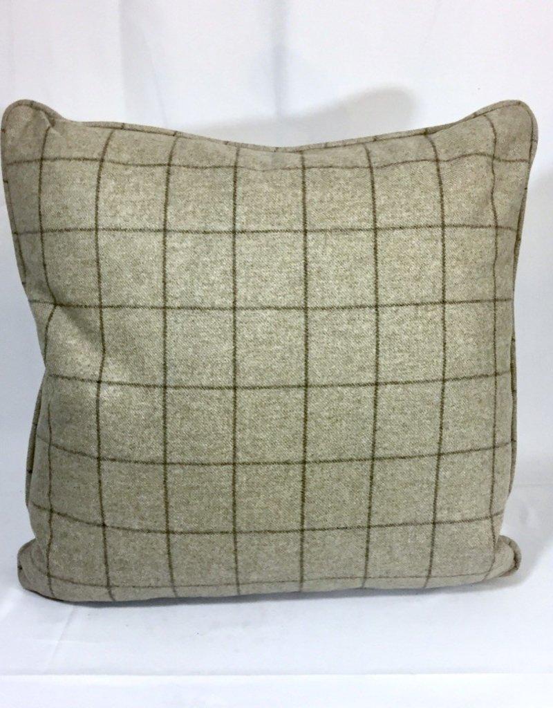 english english wool pillow tan plaid