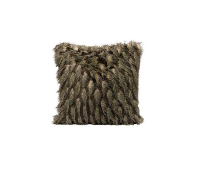 montauk black taupe faux fur square pillow