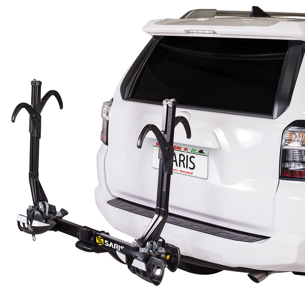 saris superclamp ex hitch mounted bike rack 2 bikes 1 1 4 and 2 black