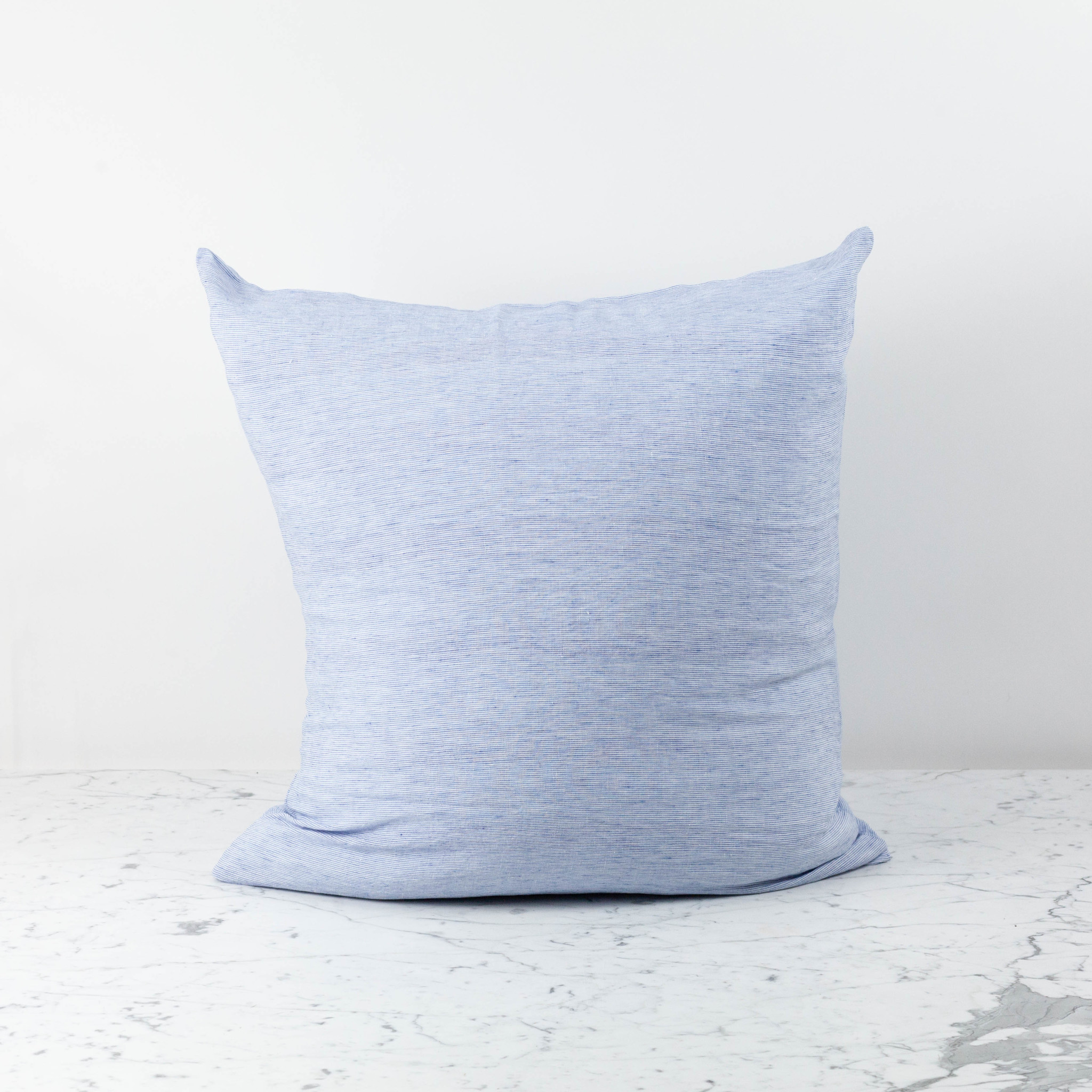 washed french linen pillow cover with down insert blue thin stripe 26 x 26