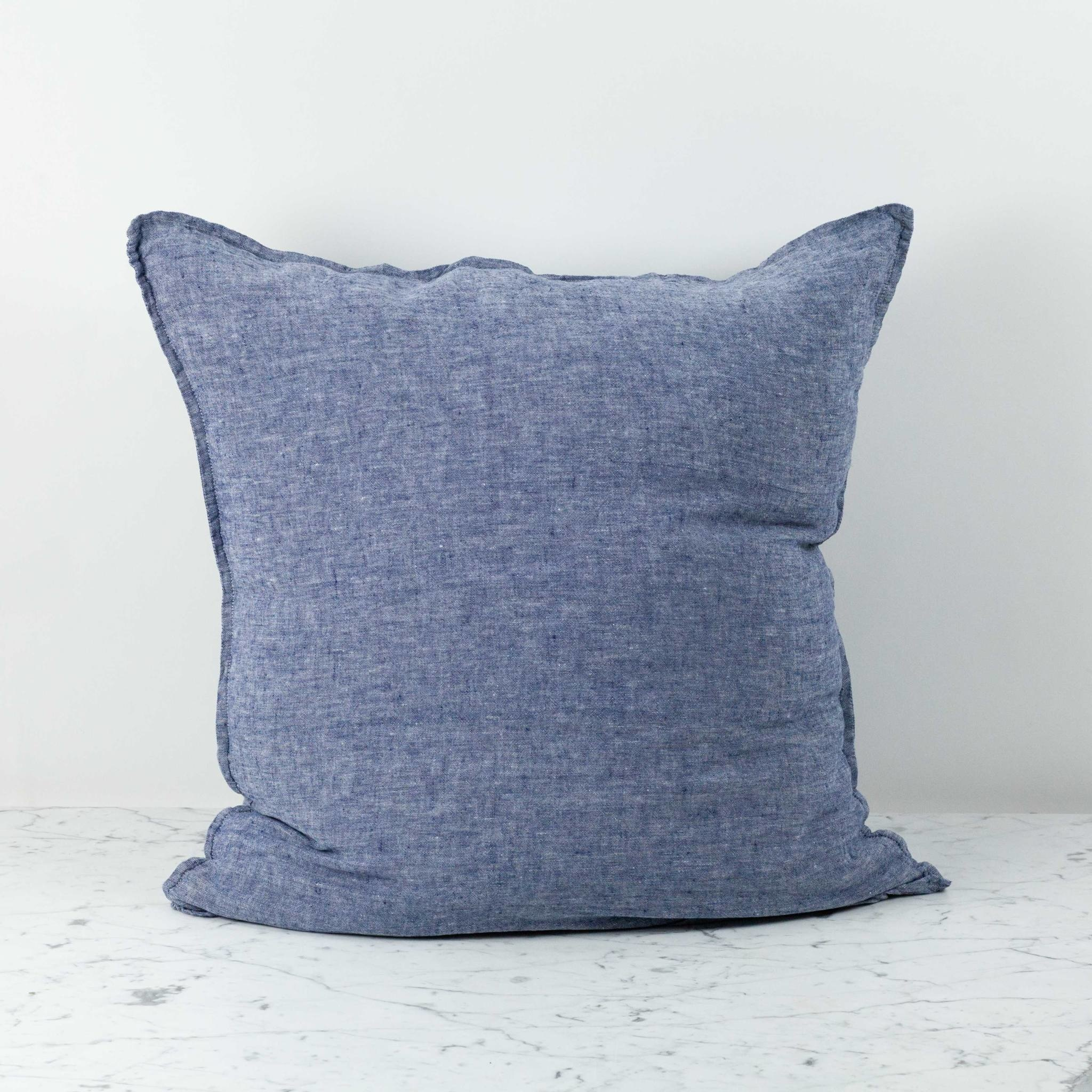 washed french linen pillow cover only blue chambray 26 x 26