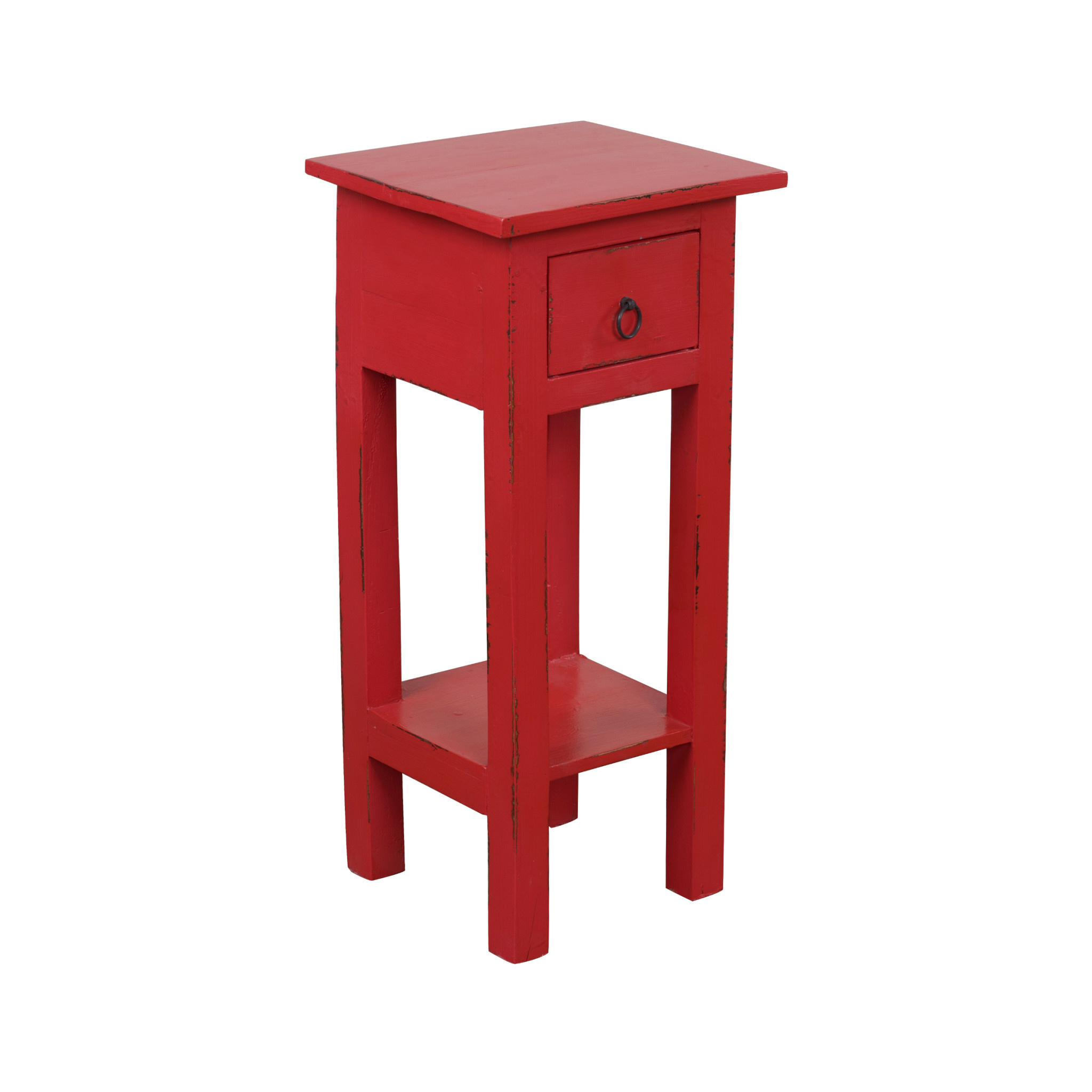 Cc Tab1792ld Ar Narrow Side Table Distressed Antique Red Wholesale Furniture Mattress