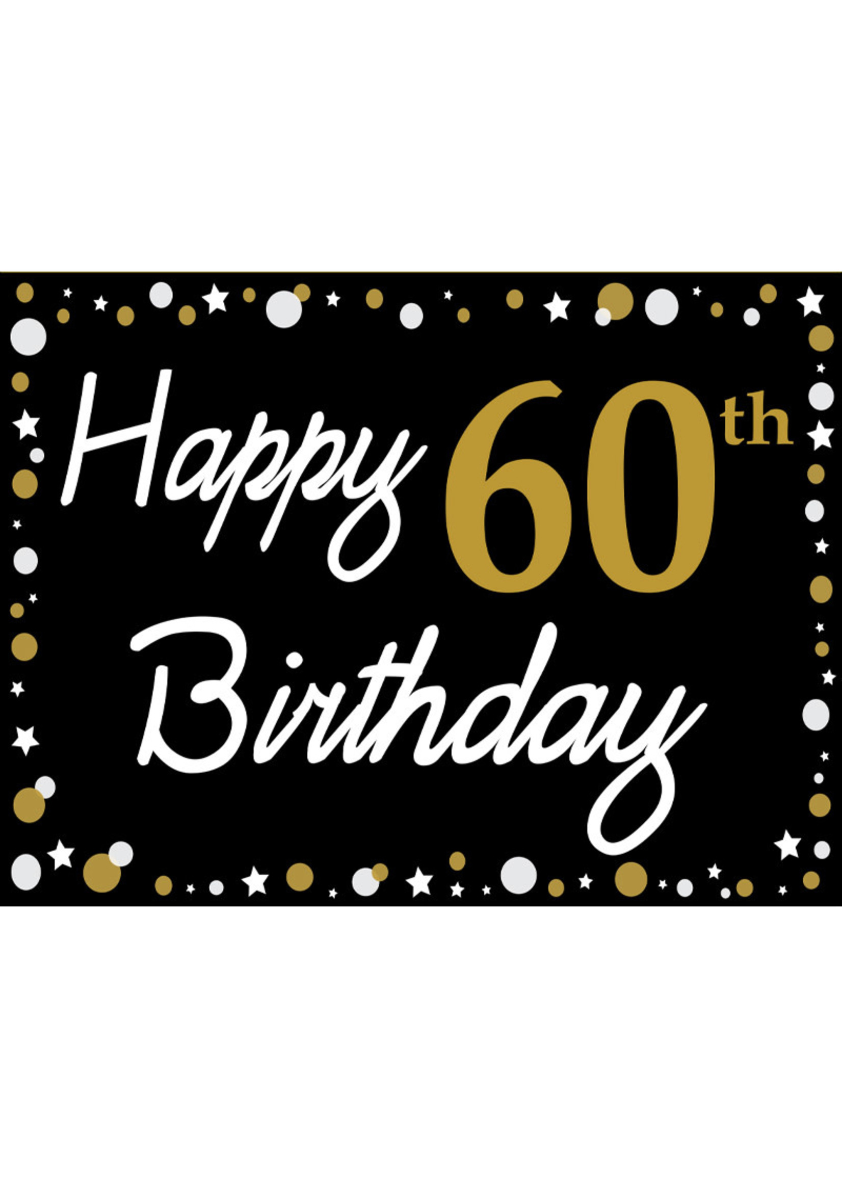 Happy 60th Birthday Black Gold White Yard Sign Party On