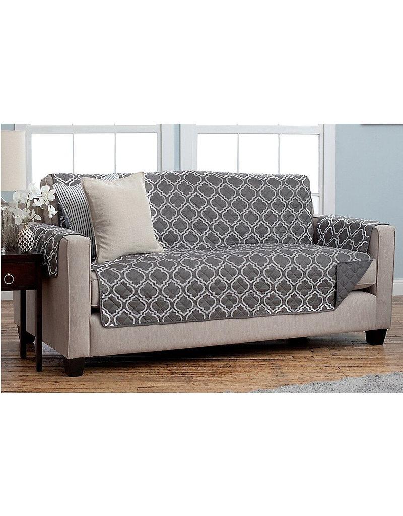 sofa cover reversible grey lattice