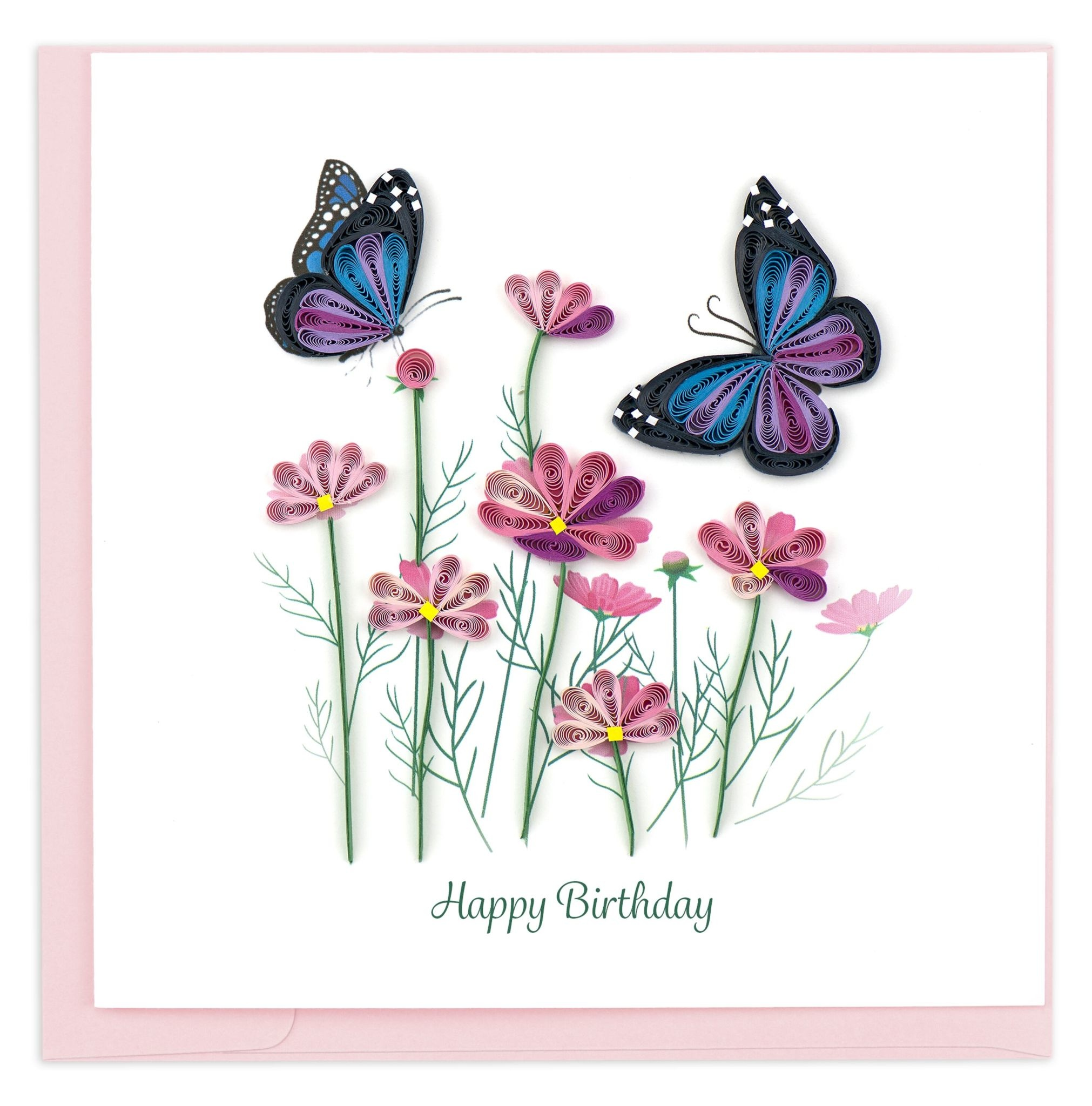 Flowers And Butterflies Quilled Birthday Cards Global Gifts